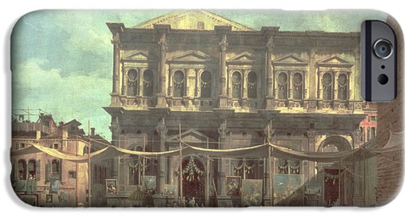 The Doge Visiting The Church And Scuola Di San Rocco IPhone Case by Canaletto