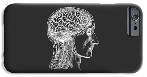 The Human Brain - White On Black IPhone Case by Village Antiques