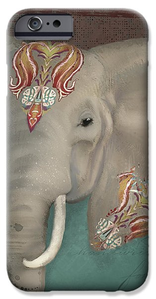 The King - African Bull Elephant - Kashmir Paisley Tribal Pattern Safari Home Decor IPhone Case by Audrey Jeanne Roberts