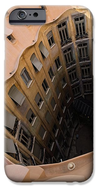 The Lost Straw Hat - Antoni Gaudi La Pedrera Courtyard From Above - Vertical IPhone Case by Georgia Mizuleva
