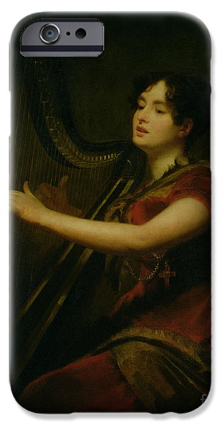 The Marchioness Of Northampton Playing A Harp IPhone Case by Sir Henry Raeburn