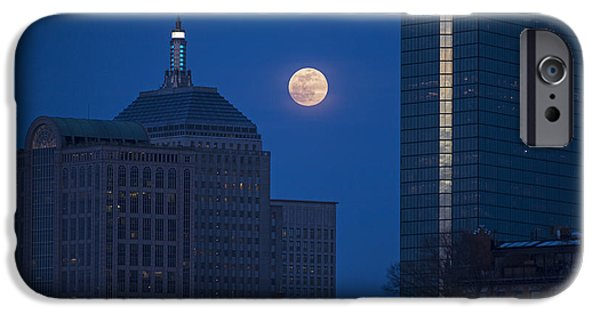 The Moon Rising Over Boston IPhone Case by Toby McGuire