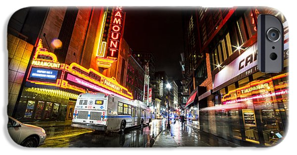 The Paramount On A Rainy Night Boston Ma Bus IPhone Case by Toby McGuire