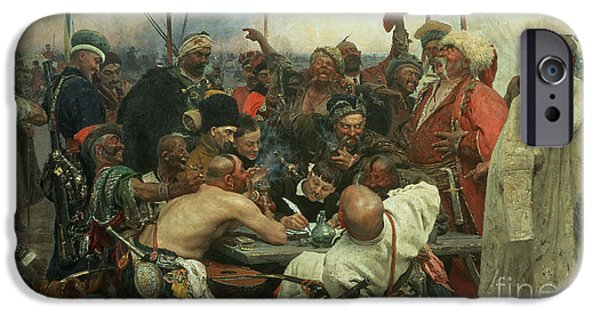 The Zaporozhye Cossacks Writing A Letter To The Turkish Sultan IPhone Case by Ilya Efimovich Repin