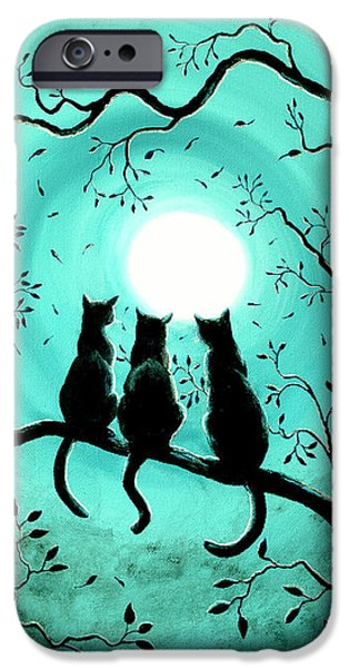 Three Black Cats Under A Full Moon IPhone Case by Laura Iverson