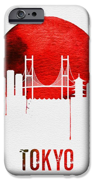 Tokyo Skyline Red IPhone Case by Naxart Studio
