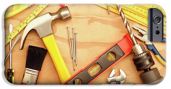 Tools Arrangement IPhone Case by Les Cunliffe