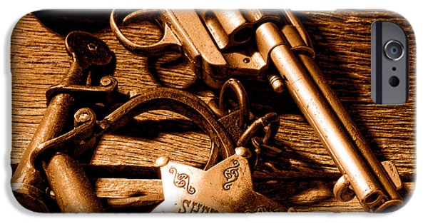 Tools Of Western Justice - Sepia IPhone Case by Olivier Le Queinec
