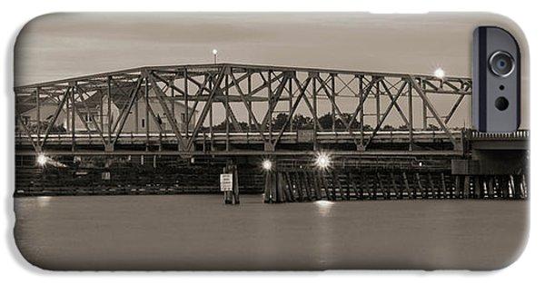 Topsail Island Bridge Sepia IPhone Case by Mike McGlothlen