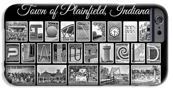 Town Of Plainfield Indiana In Black And White IPhone Case by Dave Lee
