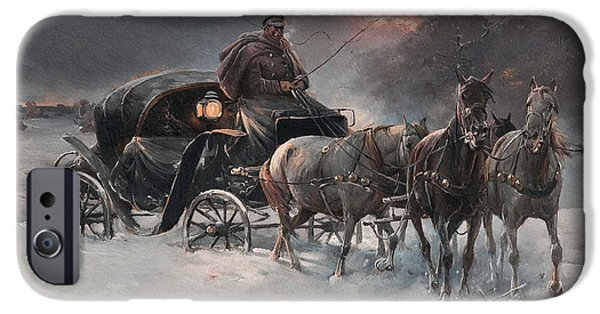 Traveller On A Winter Night IPhone Case by Alfred Kowalski