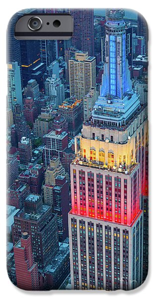 Tricolor Empire State Building IPhone Case by Inge Johnsson