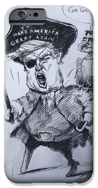 Trump, Short Fingers Pirate With Ryan, The Bird  IPhone Case by Ylli Haruni