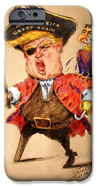 Trump, The Short Fingers Pirate With Ryan, The Bird IPhone Case by Ylli Haruni