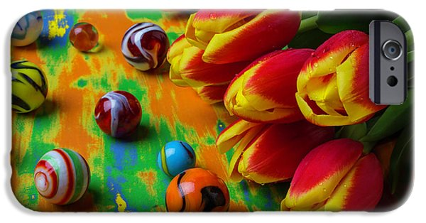 Tulips And Marbles IPhone Case by Garry Gay