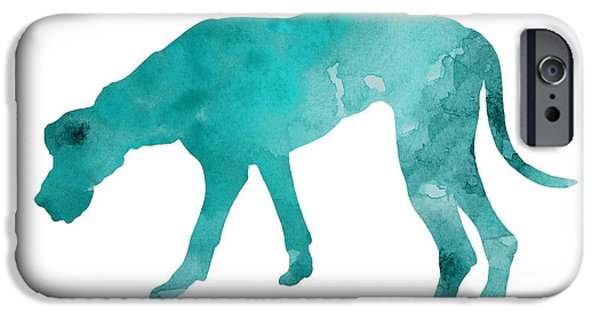 Turquoise Great Dane Watercolor Art Print Paitning IPhone Case by Joanna Szmerdt