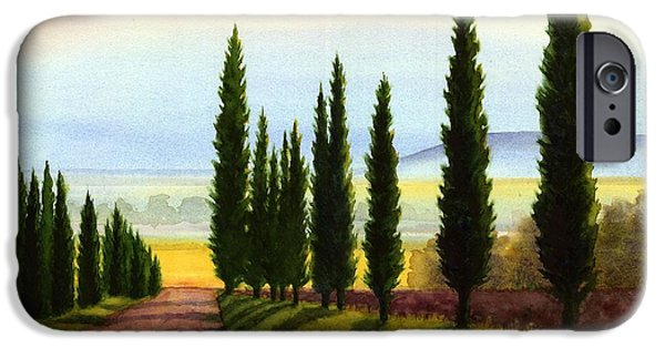 Tuscany Cypress Trees IPhone Case by Janet King