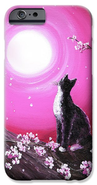 Tuxedo Cat In Cherry Blossoms IPhone Case by Laura Iverson