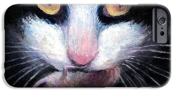 Tuxedo Cat With Mouse IPhone Case by Svetlana Novikova