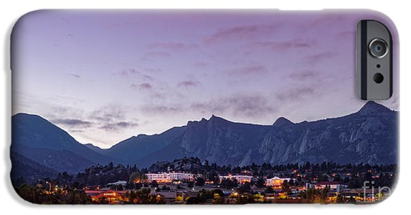 Twilight Panorama Of Estes Park, Stanley Hotel, Castle Mountain And Lumpy Ridge - Rocky Mountains  IPhone Case by Silvio Ligutti