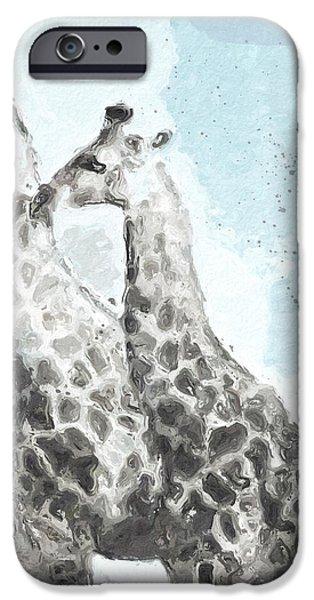 Two Giraffes- Art By Linda Woods IPhone Case by Linda Woods
