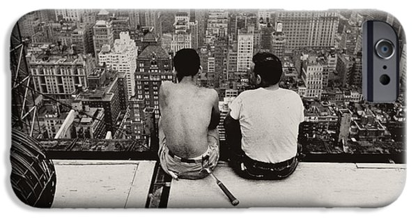 Two Men Sitting On A Scaffold Overlooking Manhattan IPhone Case by Nat Herz