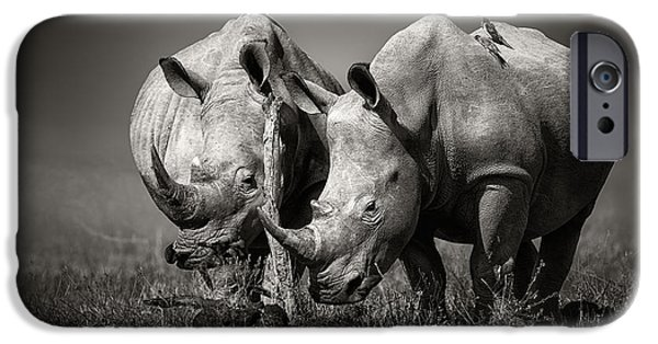 Two Rhinoceros With Birds In Bw IPhone Case by Johan Swanepoel