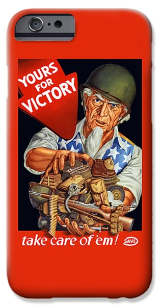Uncle Sam - Yours For Victory IPhone Case by War Is Hell Store