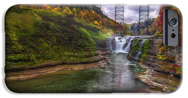 Upper Falls In Fall IPhone Case by Mark Papke