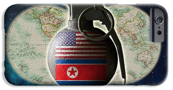 U.s. And North Korean Conflict IPhone Case by George Mattei