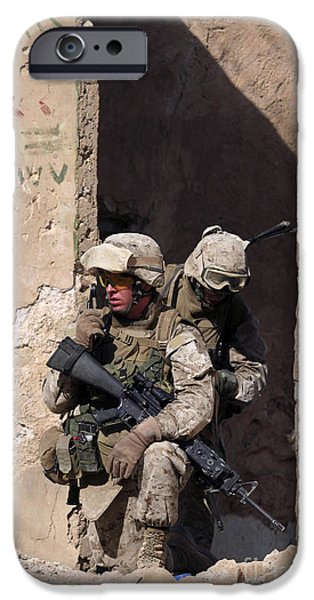 U.s. Marines Taking Cover In An IPhone Case by Stocktrek Images
