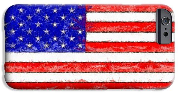 Usa Flag  - Pencil Style -  - Da IPhone Case by Leonardo Digenio