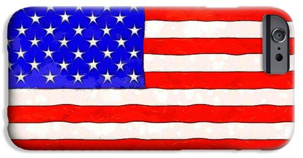 Usa Flag  - Van Gogh Style -  - Da IPhone Case by Leonardo Digenio