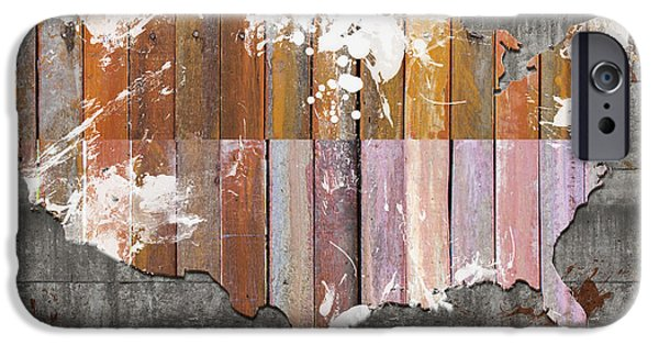Usa Grunge Paint Wooden Map IPhone Case by Mihaela Pater