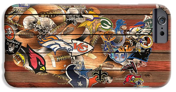 Usa Nfl Map Collage 6 IPhone Case by Bekim Art