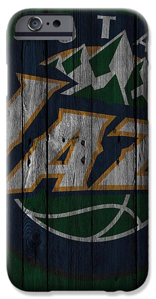 Utah Jazz Wood Fence IPhone Case by Joe Hamilton