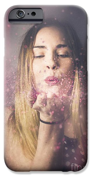 Valentine Girl Making Wish Kiss IPhone Case by Jorgo Photography - Wall Art Gallery