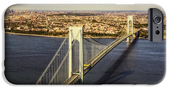 Verrazano Narrows Bridge Aerial View IPhone Case by Susan Candelario