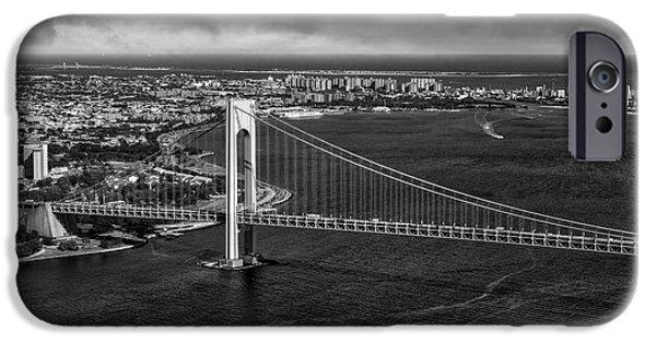 Verrazano Narrows Bridge Nyc Bw IPhone Case by Susan Candelario