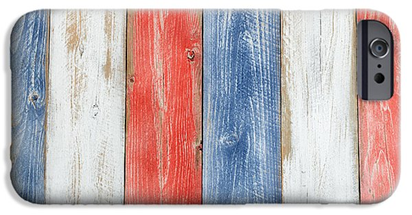 Vertical Stressed Boards Painted In Usa National Colors IPhone 6s Case by Thomas Baker
