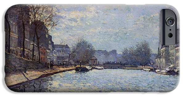 View Of The Canal Saint-martin Paris IPhone Case by Alfred Sisley