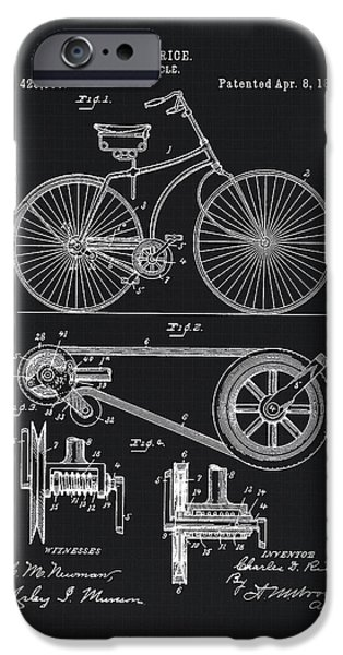 Vintage Bicycle Patent Illustration 1890 IPhone Case by Tina Lavoie