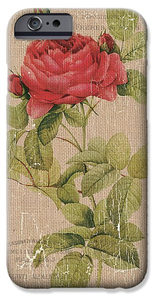 Vintage Burlap Floral IPhone Case by Debbie DeWitt