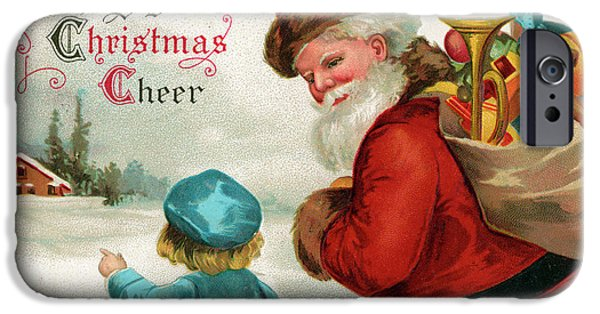 Vintage Christmas Card IPhone Case by Ellen Hattie Clapsaddle