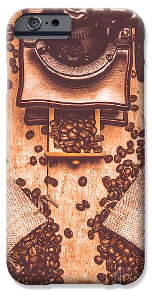 Vintage Grinder With Sacks Of Coffee Beans IPhone Case by Jorgo Photography - Wall Art Gallery