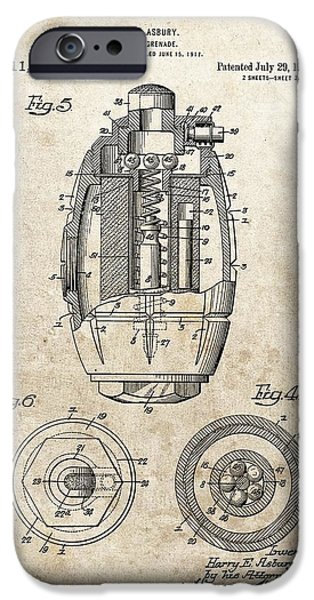 Vintage Hand Grenade Patent IPhone Case by Dan Sproul