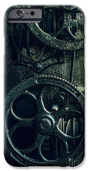 Vintage Industrial Wheels IPhone Case by Carlos Caetano