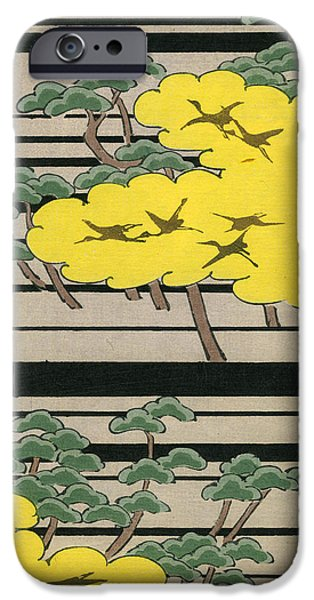 Vintage Japanese Illustration Of An Abstract Forest Landscape With Flying Cranes IPhone 6s Case by Japanese School