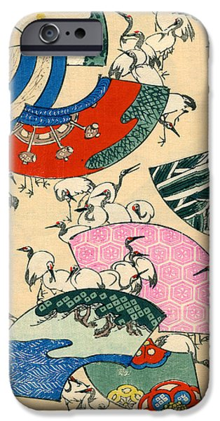 Vintage Japanese Illustration Of Fans And Cranes IPhone 6s Case by Japanese School