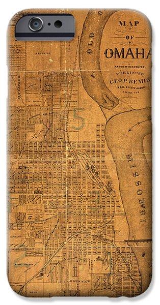 Vintage Map Of Omaha Nebraska 1878 IPhone Case by Design Turnpike